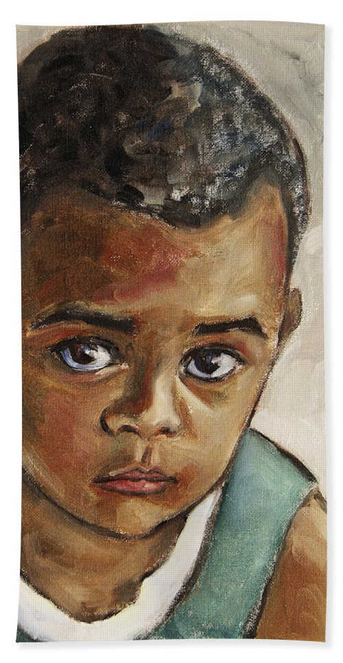 Boy Beach Towel featuring the painting Curious Little Boy by Xueling Zou