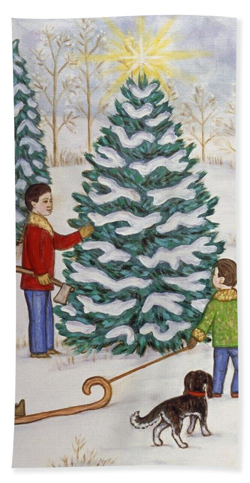 Christmas Beach Towel featuring the painting Cutting Our Tree by Linda Mears