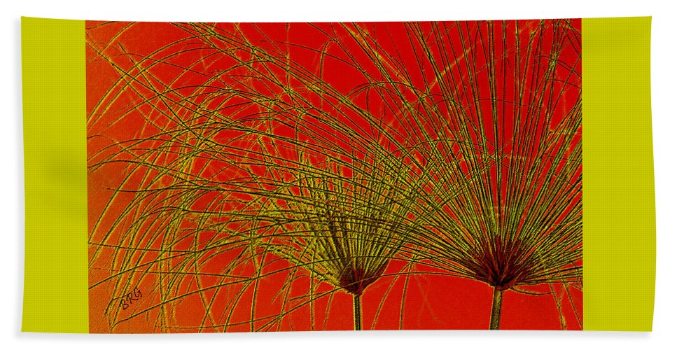 Botanical Abstract Beach Towel featuring the photograph Cyperus Papyrus Abstract by Ben and Raisa Gertsberg
