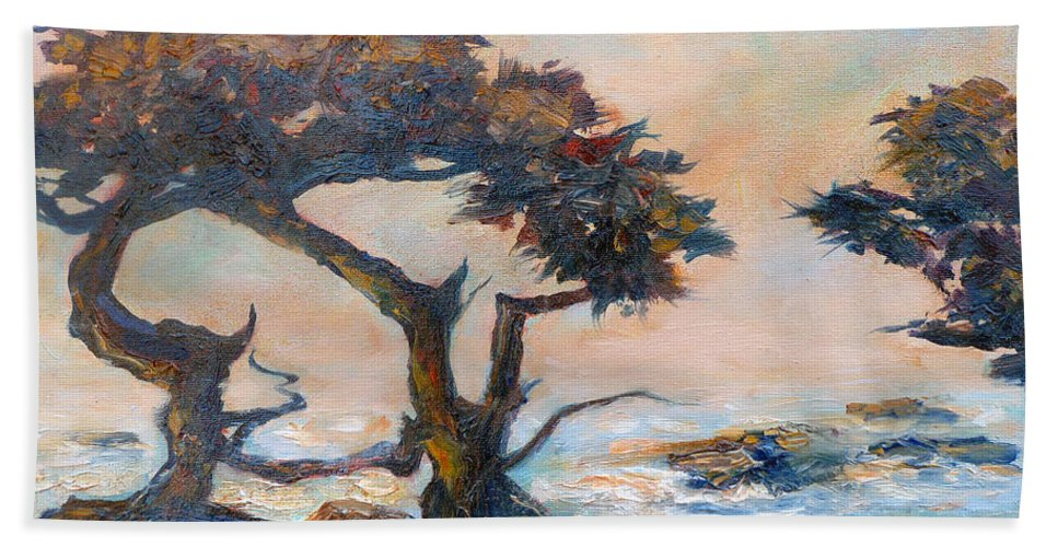 Cypress Tree Beach Towel featuring the painting Cypress Tree Coast by Carolyn Jarvis