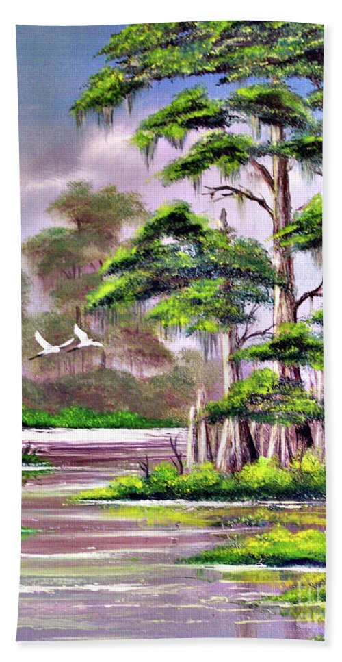 Cypress Beach Towel featuring the painting Cypress Trees-wakulla River Florida by Bill Holkham