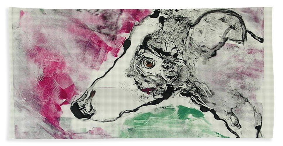 Greyhound Beach Towel featuring the painting Cyrus by Cori Solomon