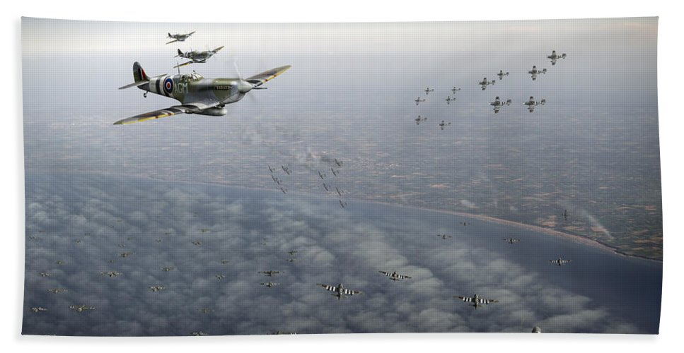 D-day Beach Towel featuring the digital art D-day Operation Mallard by Gary Eason