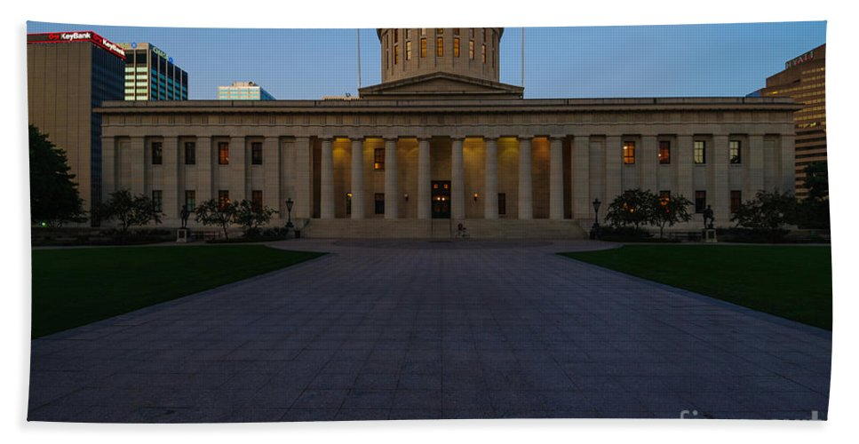 Ohio Beach Towel featuring the photograph D13l83 Ohio Statehouse Photo by Ohio Stock Photography
