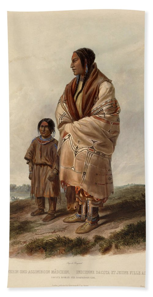 Karl Bodmer Beach Towel featuring the drawing Dacota Woman And Assiniboin Girl by Karl Bodmer