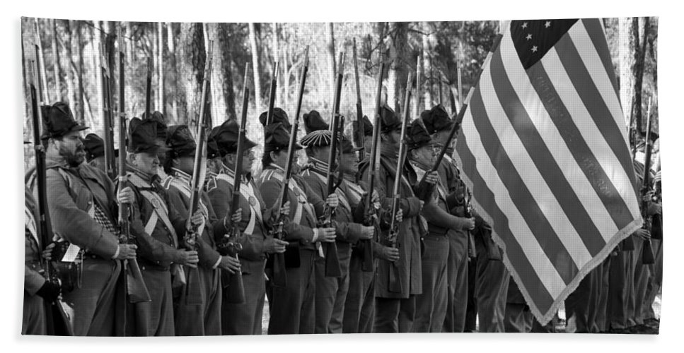 American Soldiers 1835 Beach Towel featuring the photograph American Soldiers At Muster 1835 by David Lee Thompson
