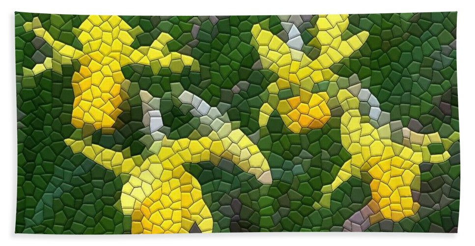 Mosaic Beach Towel featuring the photograph Daffies by Kathryn Meyer
