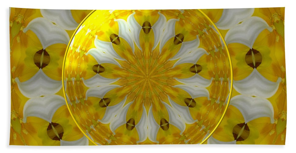 Daffodils Beach Towel featuring the photograph Daffodil And Easter Lily Kaleidoscope Under Glass by Rose Santuci-Sofranko