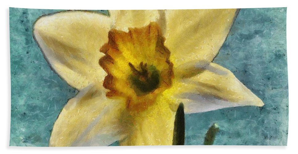 Bloom Beach Towel featuring the painting Daffodil by Jeffrey Kolker