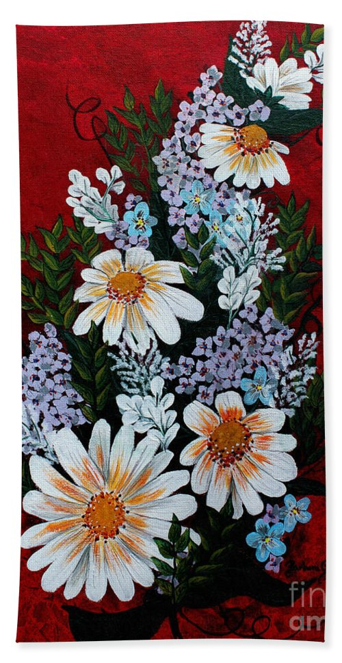 Barbara Griffin Beach Towel featuring the painting Daisies Lilacs And Forget Me Nots by Barbara Griffin
