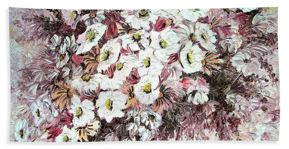 Beach Towel featuring the painting Daisy Blush Remix by Karin Dawn Kelshall- Best
