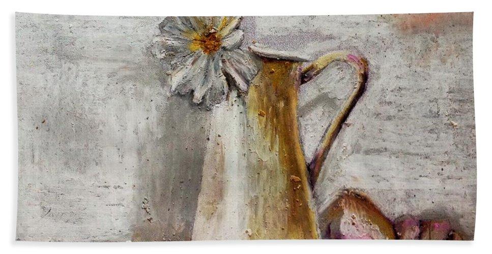 Daisy Beach Towel featuring the pastel Daisy by Maria Leah Comillas