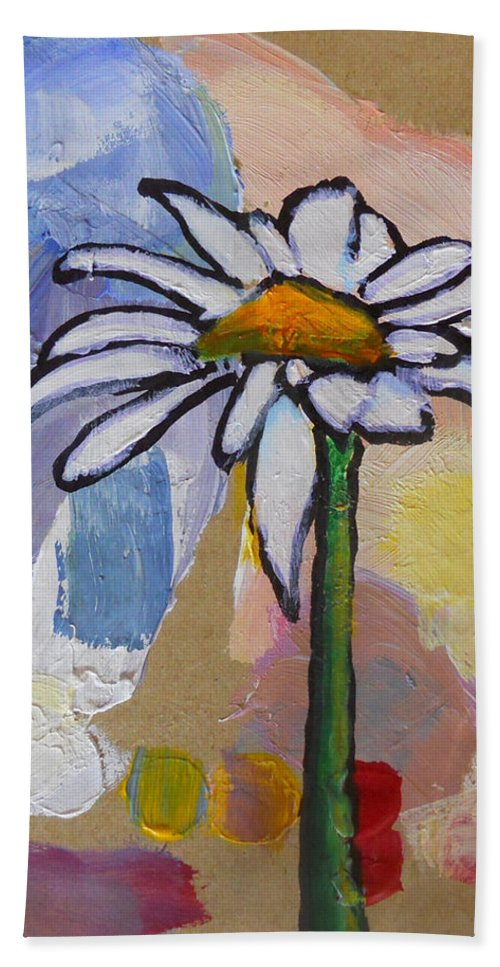 Daisy Beach Towel featuring the mixed media Daisy by Sarah Vandenbusch