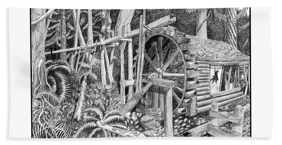 Hydroelectric Power Plants Beach Towel featuring the drawing Water Wheel Alderbrook Hood Canal W A by Jack Pumphrey