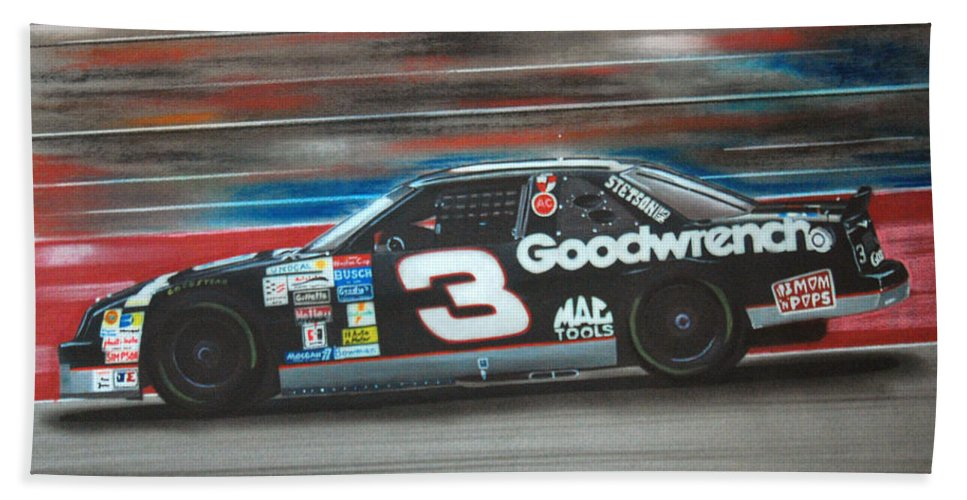 Car Beach Towel featuring the drawing Dale Earnhardt Goodwrench Chevrolet by Paul Kuras