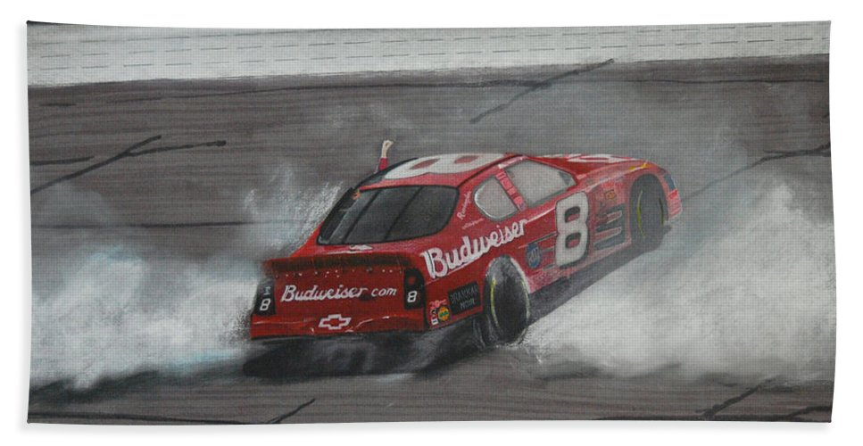 Car Beach Towel featuring the drawing Dale Earnhardt Junior Victory Burnout by Paul Kuras