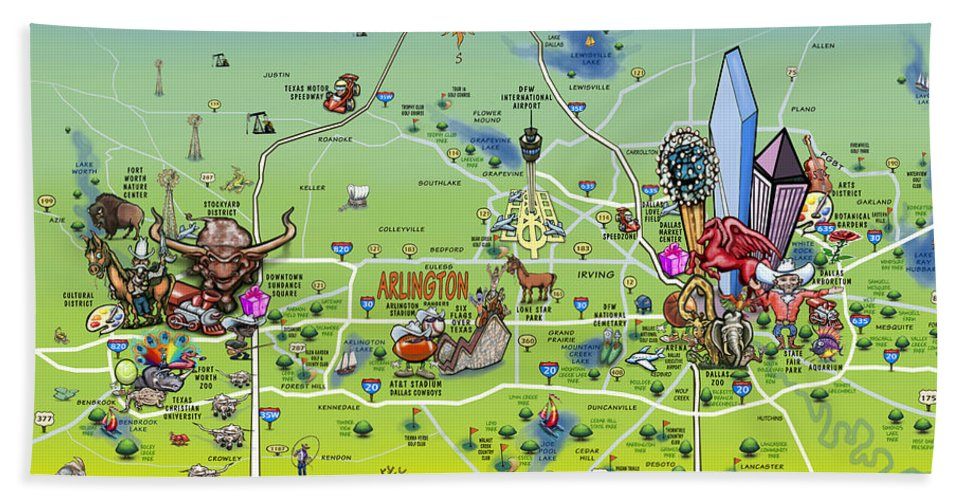 Dallas Beach Towel featuring the painting Dallas Fort Worth Cartoon Map by Kevin Middleton