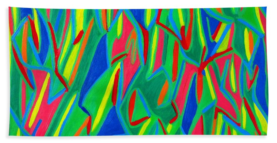 Eunice Broderick Beach Towel featuring the painting Dance Of Colors by Eunice Broderick