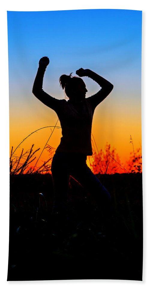 Silhouette Beach Towel featuring the photograph Dance Of Joy by Sennie Pierson