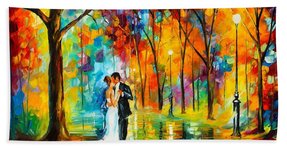 Afremov Painting Palette Knife Art Handmade Surreal Abstract Oil Landscape Original Realism Unique Special Life Color Beauty Admiring Light Reflection Piece Renown Authenticity Smooth Certificate Colorful Beauty Perspective Color Dance Love Beach Towel featuring the painting Dance Of Love by Leonid Afremov