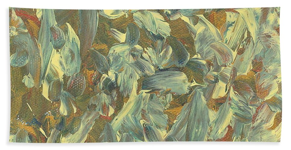 Abstract Beach Towel featuring the painting Dancing In Celebration by Sue McElligott