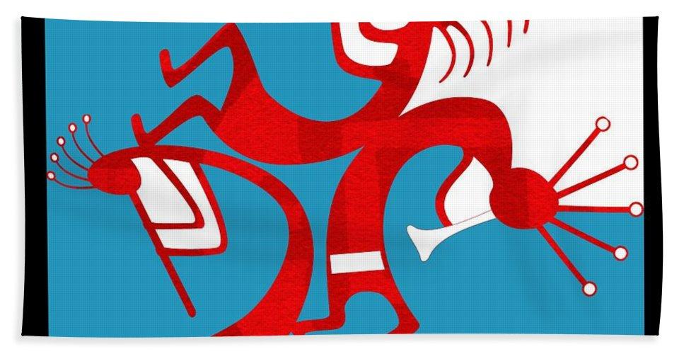 Native American Beach Towel featuring the digital art Dancing Kokopellis by Shannon Story
