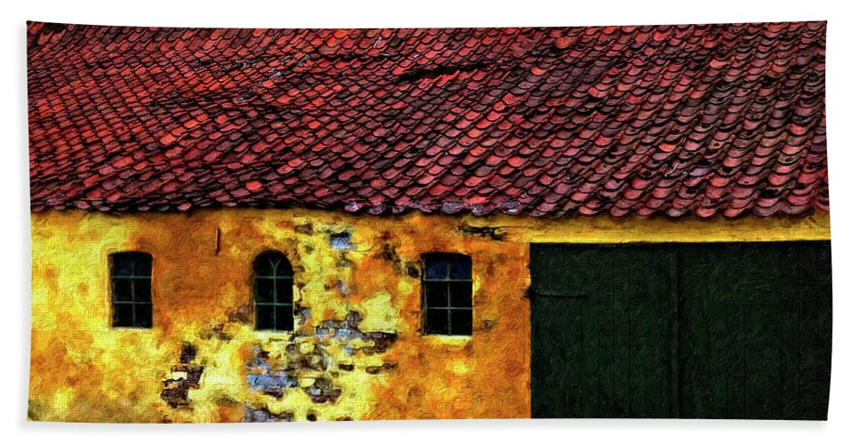 Barn Beach Towel featuring the photograph Danish Barn Impasto Version by Steve Harrington
