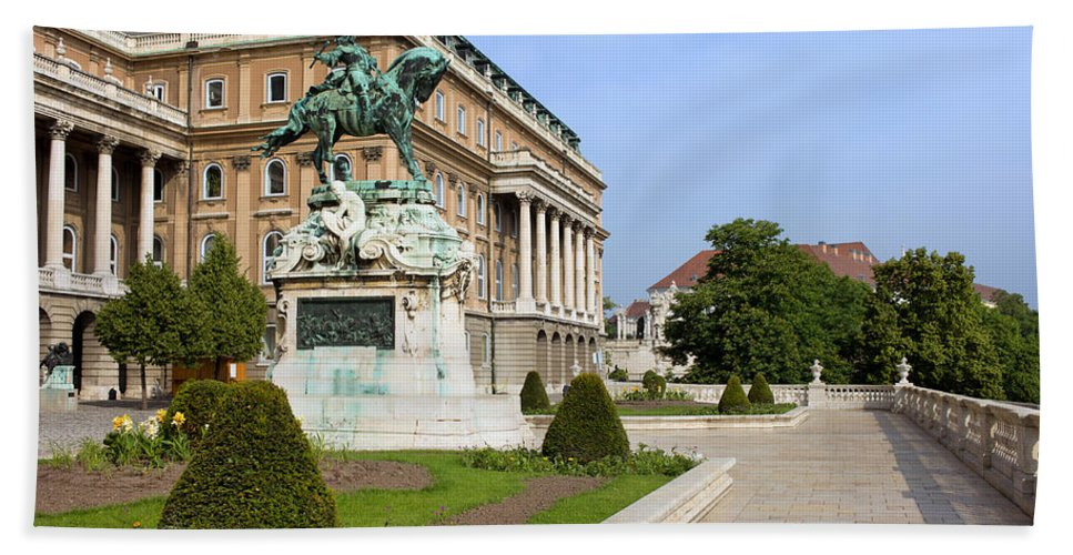Statue Beach Towel featuring the photograph Danube Terrace At Buda Castle In Budapest by Artur Bogacki