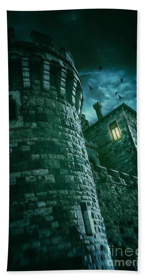Castle Beach Towel featuring the photograph Dark Tower by Carlos Caetano