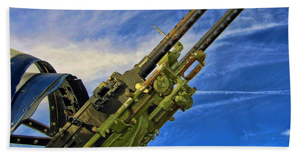 Tail Gun Beach Towel featuring the photograph Dauntless Tail Gun by Dale Jackson