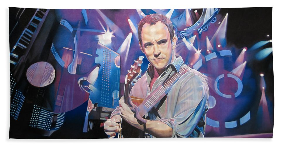 Dave Matthews Beach Towel featuring the drawing Dave Matthews And 2007 Lights by Joshua Morton