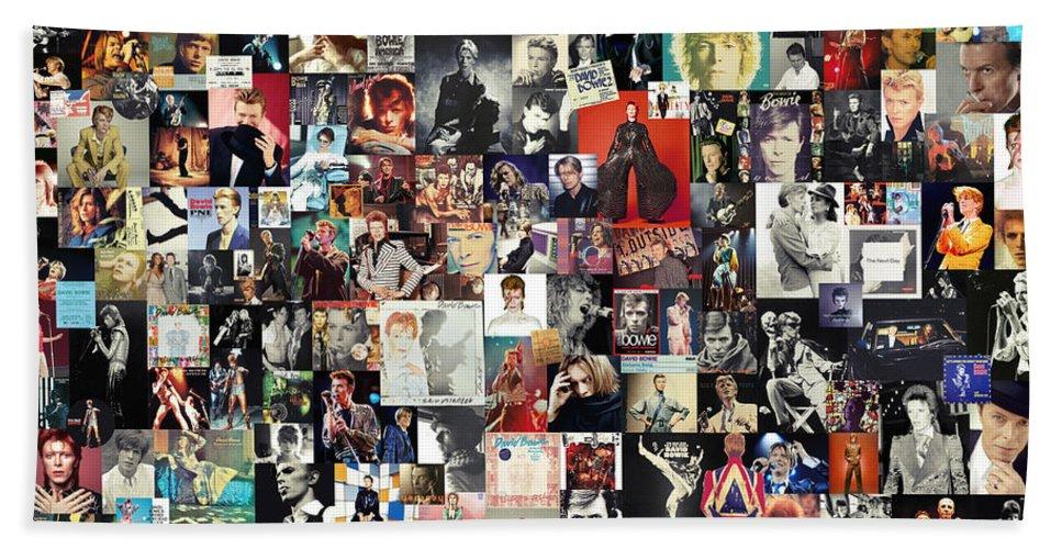 David Bowie Beach Towel featuring the digital art David Bowie Collage by Zapista OU
