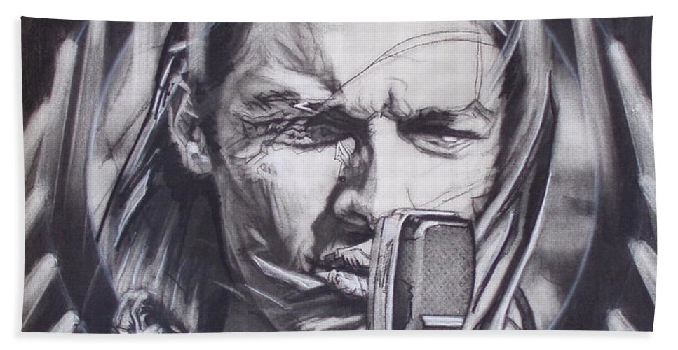 Portrait;live Performance;guitar;music;concert;lights;flight;gulls;seabirds Beach Towel featuring the drawing David Gilmour Of Pink Floyd - Echoes by Sean Connolly