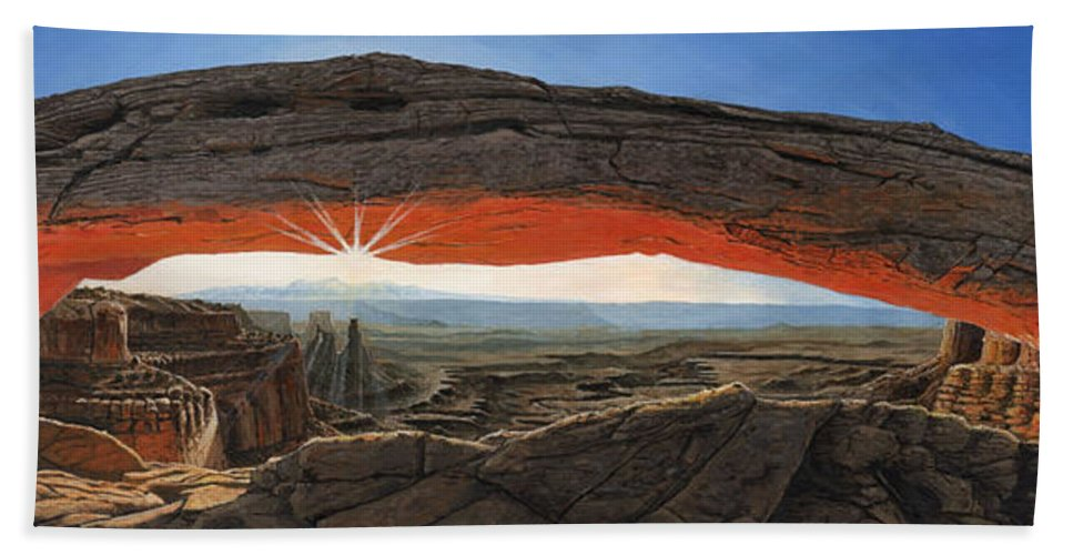 Mesa Arch Beach Towel featuring the painting Dawn At Mesa Arch Canyonlands Utah by Richard Harpum