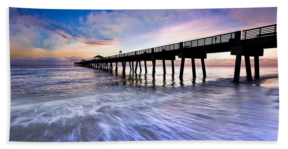 Clouds Beach Towel featuring the photograph Dawn At The Juno Beach Pier by Debra and Dave Vanderlaan
