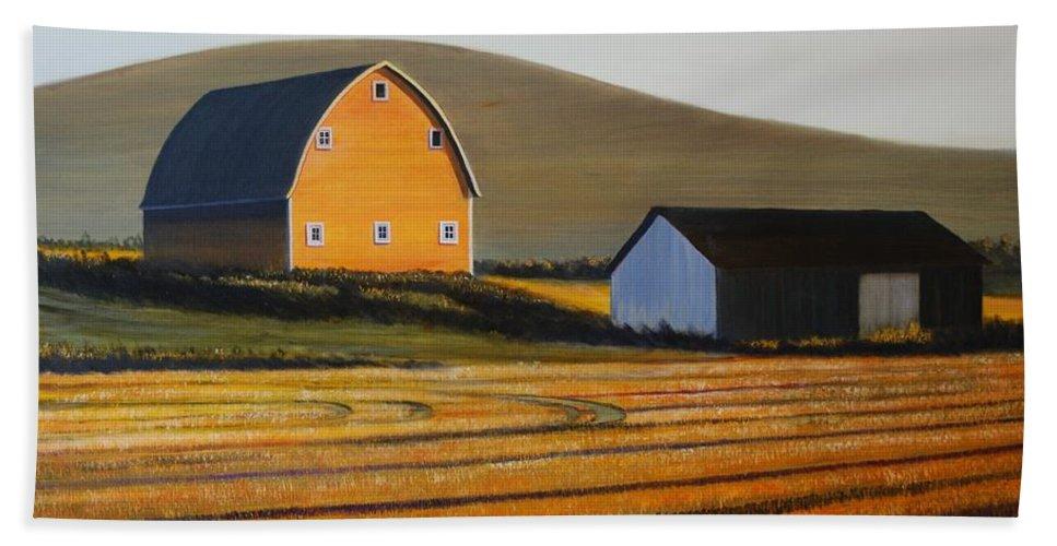 Landscape Beach Sheet featuring the painting Dawn near Lenville by Leonard Heid