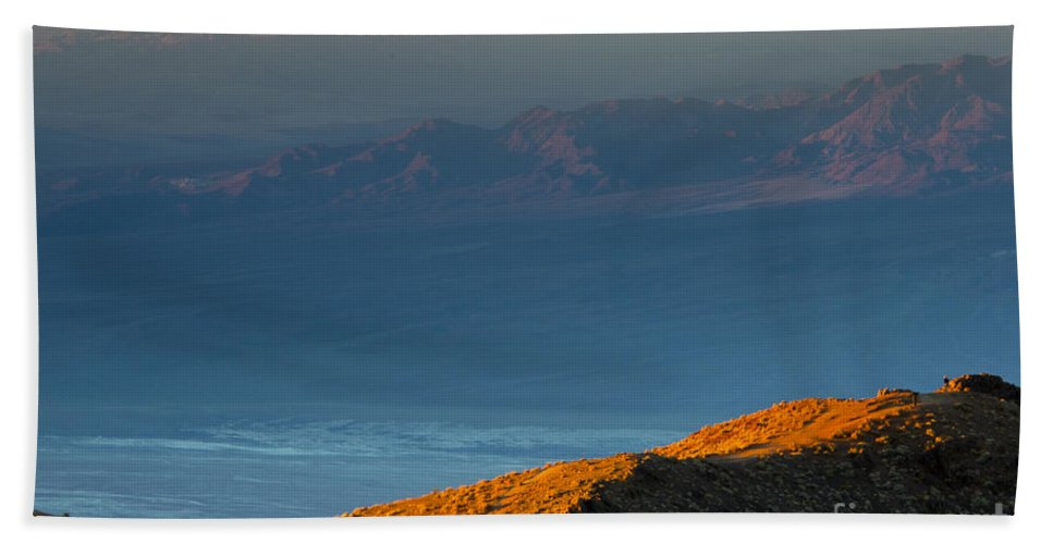 Death Valley California National Park Parks Mountain Mountains Peak Peaks Desert Desert Foliage Landscape Landscapes Desertscape Desertscapes Beach Towel featuring the photograph Dawn Of A New Day by Bob Phillips