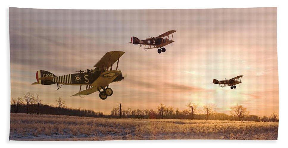 Aircraft Beach Towel featuring the digital art Dawn Patrol by Pat Speirs