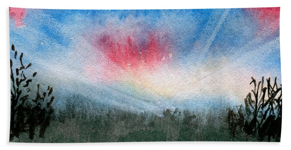 Art Artwork Painting Watercolor Watercolour Kyllo Dawn Sunrise Sunray Sunburst Sunbeam Pink Blue Green Clouds Cloud Morning Early Bright Cheerful Upbeat New Beginning Day Daylight Bush Bushes Weed Weeds Inspire Inspirational Mood Positive Energy Start Renew Panoramic Panorama Wide Scene View Broad Sweeping Big Width Large Landscape Decor Decoration Hard Fit Space Angle Beach Towel featuring the painting Dawn by R Kyllo