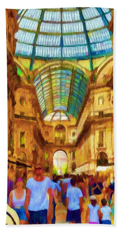 Galleria Beach Towel featuring the painting Day At The Galleria by Jeffrey Kolker