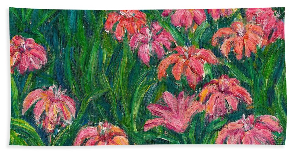 Lily Paintings Beach Towel featuring the painting Day Lily Rush by Kendall Kessler