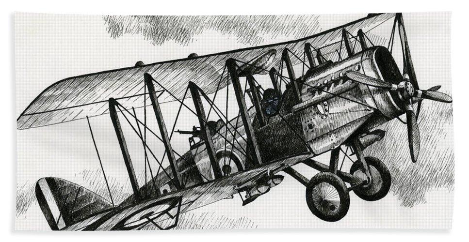 Airplane Art Beach Towel featuring the drawing De Havilland Airco Dh.4 by James Williamson