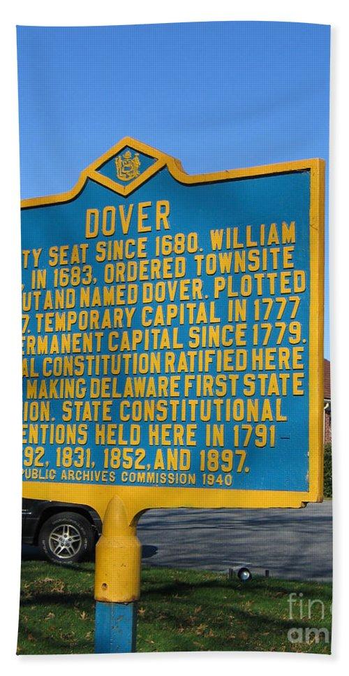 Historic Marker Beach Towel featuring the photograph De-kc34 Dover by Jason O Watson