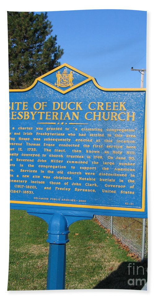 Historic Marker Beach Towel featuring the photograph De-kc81 Site Of Duck Creek Presbyterian Church by Jason O Watson