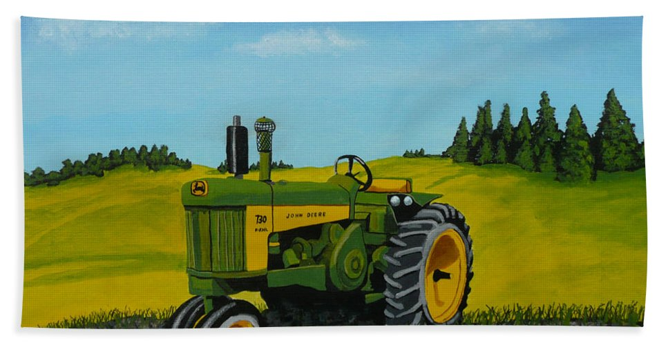 John Deere Beach Sheet featuring the painting Dear John by Anthony Dunphy