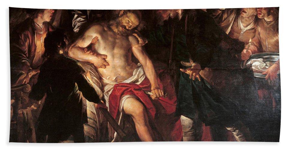 Gioacchino Assereto Beach Towel featuring the painting Death Of Cato by Gioacchino Assereto