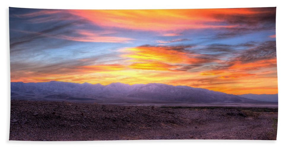 Sunset Beach Towel featuring the photograph Death Valley Sunset by Heidi Smith