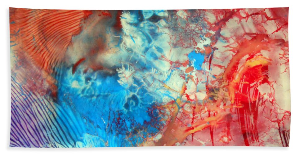 Decalcomaniac Beach Towel featuring the painting Decalcomaniac Colorfield Abstraction Without Number by Otto Rapp