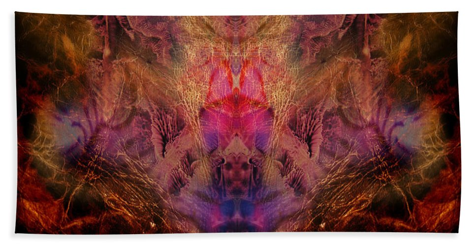 Digital Beach Towel featuring the digital art Decalcomaniac Mirror by Otto Rapp