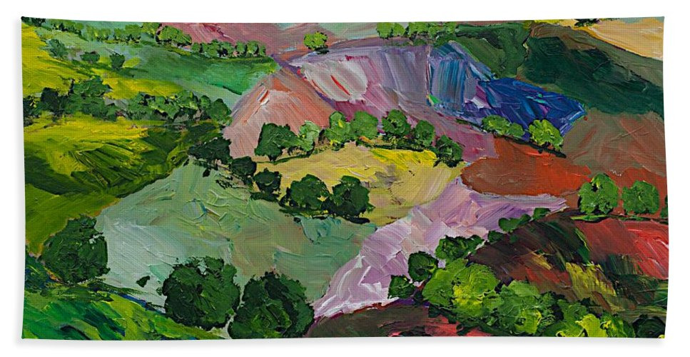 Landscape Beach Towel featuring the painting Deep Ridge Red Hill by Allan P Friedlander